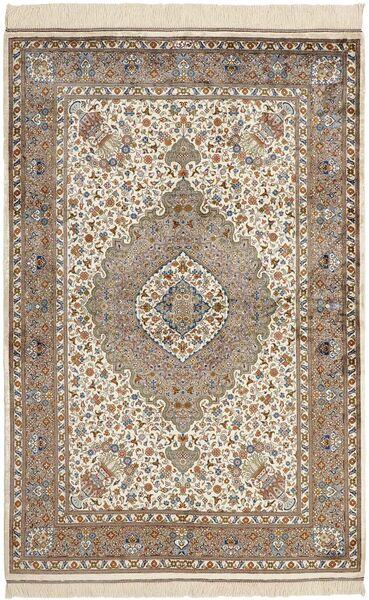 Ghom Silkki Matto 100X152 Itämainen Käsinsolmittu Vaaleanharmaa/Tummanruskea (Silkki, Persia/Iran)