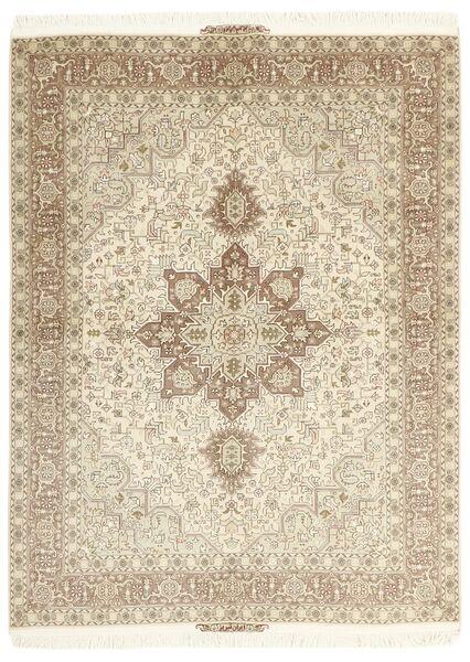 Tabriz 50 Raj Matto 148X200 Itämainen Käsinsolmittu Beige/Vaaleanharmaa (Villa/Silkki, Persia/Iran)