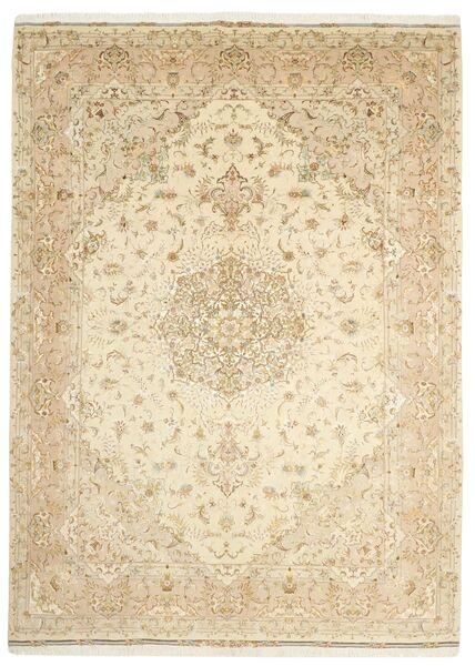 Tabriz 50 Raj Matto 253X350 Itämainen Käsinsolmittu Beige/Tummanbeige Isot (Villa/Silkki, Persia/Iran)
