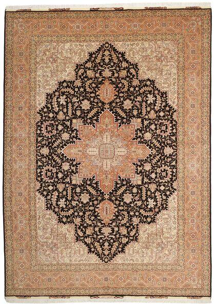 Tabriz 50 Raj Matto 248X347 Itämainen Käsinsolmittu Ruskea/Tummanruskea (Villa/Silkki, Persia/Iran)