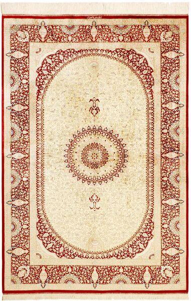 Ghom Silkki Matto 134X197 Itämainen Käsinsolmittu Beige/Keltainen (Silkki, Persia/Iran)