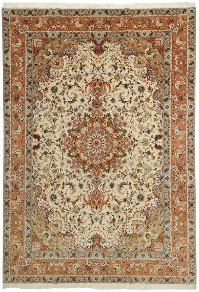 Tabriz 50 Raj Matto 253X358 Itämainen Käsinsolmittu Ruskea/Vaaleanruskea/Tummanbeige Isot (Villa/Silkki, Persia/Iran)