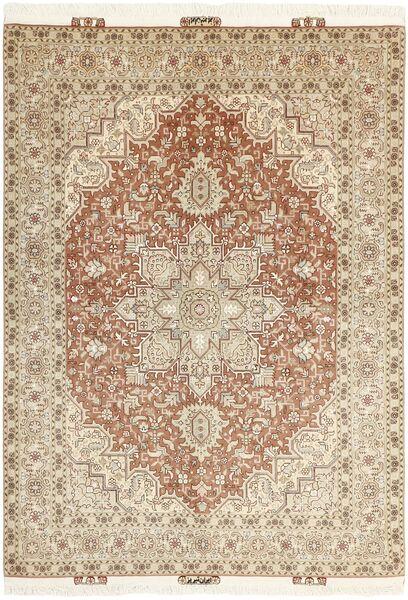 Tabriz 50 Raj Matto 145X212 Itämainen Käsinsolmittu Beige/Vaaleanharmaa (Villa/Silkki, Persia/Iran)