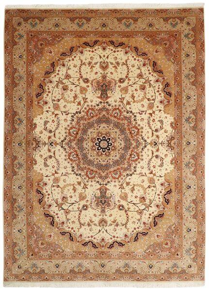 Tabriz 50 Raj Matto 250X336 Itämainen Käsinsolmittu Ruskea/Vaaleanruskea Isot (Villa/Silkki, Persia/Iran)