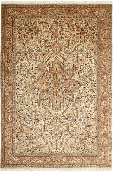 Tabriz 50 Raj Matto 200X302 Itämainen Käsinsolmittu Vaaleanruskea/Beige/Ruskea (Villa/Silkki, Persia/Iran)
