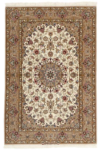 Isfahan Silkkiloimi Matto 109X159 Itämainen Käsinsolmittu Ruskea/Vaaleanruskea (Villa/Silkki, Persia/Iran)