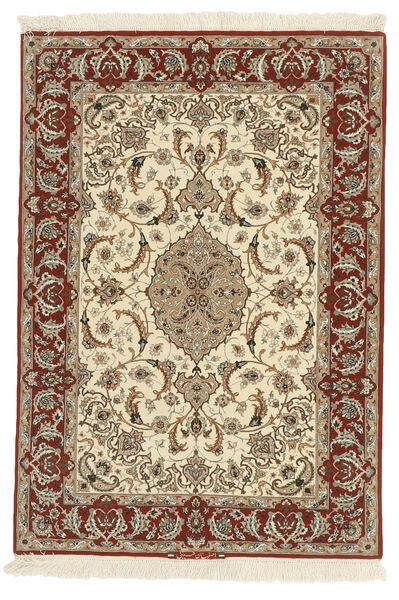Isfahan Silkkiloimi Matto 110X158 Itämainen Käsinsolmittu Ruskea/Beige (Villa/Silkki, Persia/Iran)