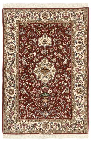 Isfahan Silkkiloimi Matto 110X164 Itämainen Käsinsolmittu Tummanruskea/Beige/Vaaleanruskea (Villa/Silkki, Persia/Iran)