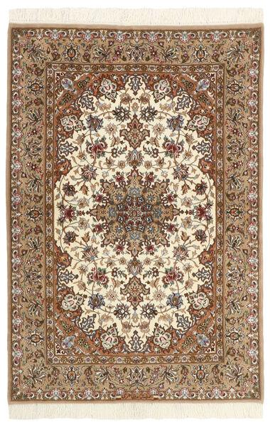 Isfahan Silkkiloimi Matto 110X160 Itämainen Käsinsolmittu Beige/Ruskea/Vaaleanruskea (Villa/Silkki, Persia/Iran)