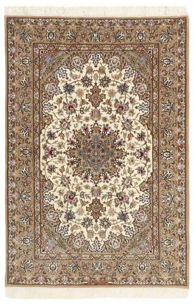 Isfahan Silkkiloimi Matto 112X174 Itämainen Käsinsolmittu Beige/Vaaleanruskea (Villa/Silkki, Persia/Iran)