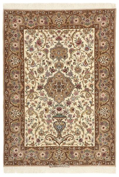 Isfahan Silkkiloimi Matto 110X157 Itämainen Käsinsolmittu Ruskea/Beige (Villa/Silkki, Persia/Iran)