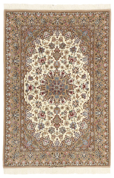 Isfahan Silkkiloimi Matto 110X164 Itämainen Käsinsolmittu Beige/Ruskea (Villa/Silkki, Persia/Iran)
