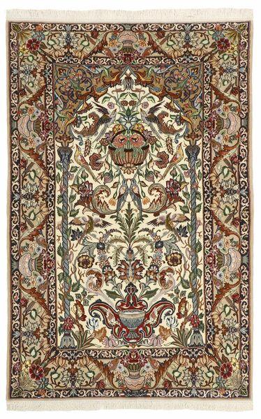 Isfahan Silkkiloimi Matto 130X202 Itämainen Käsinsolmittu Tummanruskea/Ruskea (Villa/Silkki, Persia/Iran)