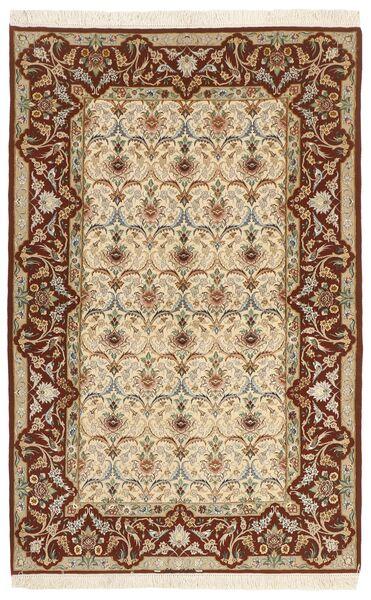 Isfahan Silkkiloimi Matto 130X208 Itämainen Käsinsolmittu Beige/Ruskea (Villa/Silkki, Persia/Iran)