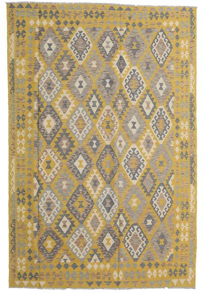 Kelim Afghan Old Style Matto 198X304 Itämainen Käsinkudottu Oliivinvihreä/Vaaleanharmaa (Villa, Afganistan)