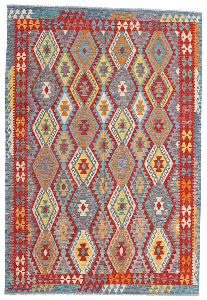 Kelim Afghan Old Style Matto 199X293 Itämainen Käsinkudottu Vaaleanharmaa/Ruoste (Villa, Afganistan)