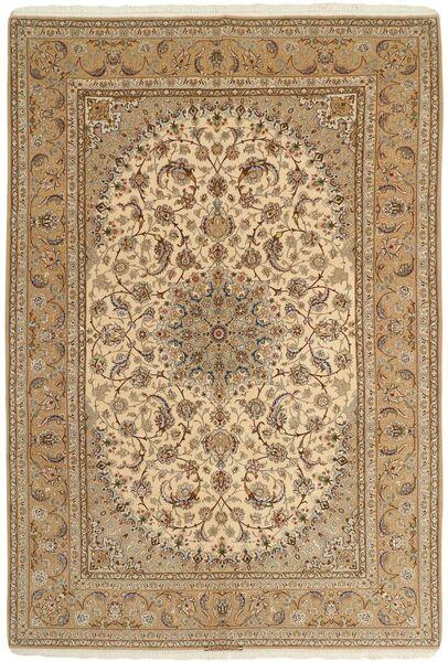 Isfahan Silkkiloimi Matto 208X306 Itämainen Käsinsolmittu Vaaleanruskea/Tummanbeige (Villa/Silkki, Persia/Iran)
