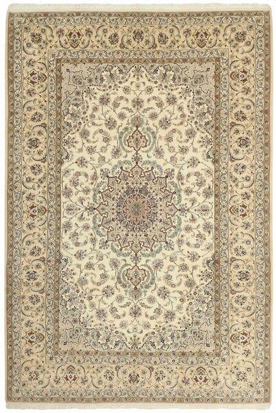 Isfahan Silkkiloimi Matto 206X307 Itämainen Käsinsolmittu Beige/Vaaleanharmaa (Villa/Silkki, Persia/Iran)