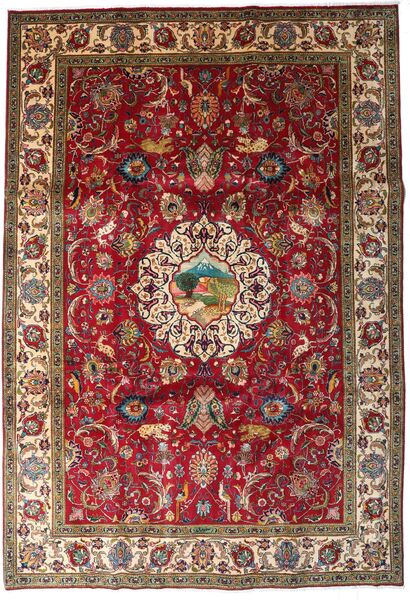 Tabriz Matto 246X355 Itämainen Käsinsolmittu Tummanpunainen/Tummanruskea (Villa, Persia/Iran)