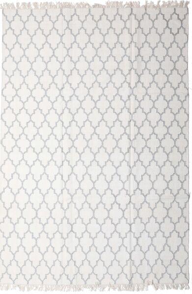 Bamboo Silkki Kelim Matto 200X300 Moderni Käsinkudottu Vaaleanharmaa/Valkoinen/Creme (Villa/Bambu Silkki, Intia)