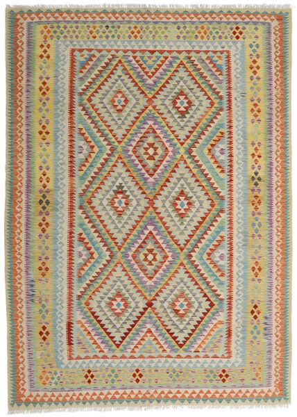 Kelim Afghan Old Style Matto 213X296 Itämainen Käsinkudottu Vaaleanharmaa/Tummanbeige (Villa, Afganistan)