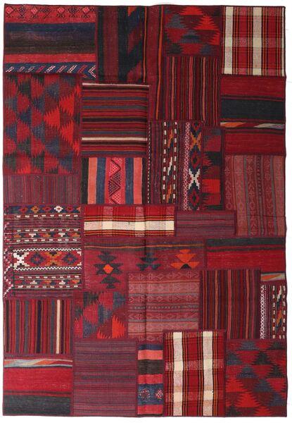 Tekkeh Kelim Matto 160X231 Moderni Käsinkudottu Tummanpunainen/Punainen (Villa, Persia/Iran)