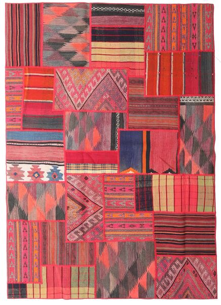 Tekkeh Kelim Matto 161X227 Moderni Käsinkudottu Pinkki/Tummanvioletti (Villa, Persia/Iran)