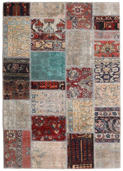 Patchwork - Persien/Iran Matto 141X198 Moderni Käsinsolmittu Vaaleanharmaa/Tummanruskea (Villa, Persia/Iran)