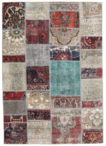 Patchwork - Persien/Iran Matto 141X202 Moderni Käsinsolmittu Vaaleanharmaa/Tummanharmaa (Villa, Persia/Iran)