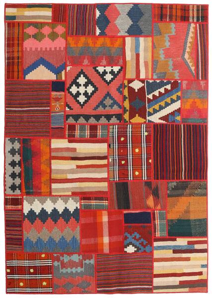 Tekkeh Kelim Matto 141X203 Moderni Käsinkudottu Tummanpunainen/Ruoste/Tummanharmaa (Villa, Persia/Iran)