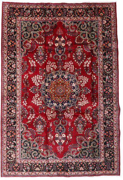 Mashad Matto 209X301 Itämainen Käsinsolmittu Tummanpunainen/Tummanruskea (Villa, Persia/Iran)