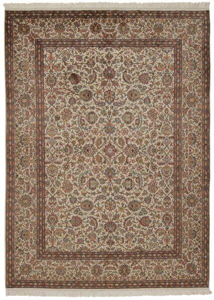 Kashmir 100% Silkki Matto 157X214 Itämainen Käsinsolmittu Ruskea/Vaaleanharmaa/Vaaleanruskea (Silkki, Intia)