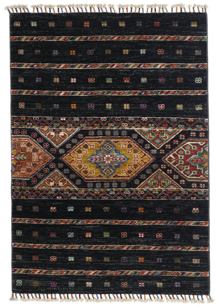Shabargan Matto 87X124 Moderni Käsinsolmittu Musta/Tummanharmaa (Villa, Afganistan)