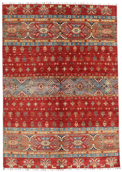 Shabargan Matto 168X240 Moderni Käsinsolmittu Tummanpunainen/Ruoste (Villa, Afganistan)