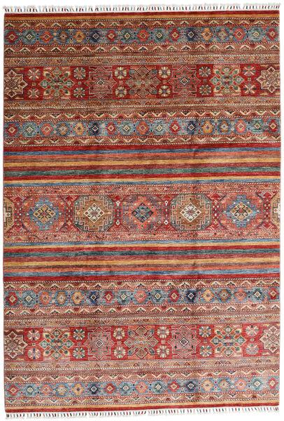 Shabargan Matto 208X298 Moderni Käsinsolmittu Tummanpunainen/Tummanruskea (Villa, Afganistan)