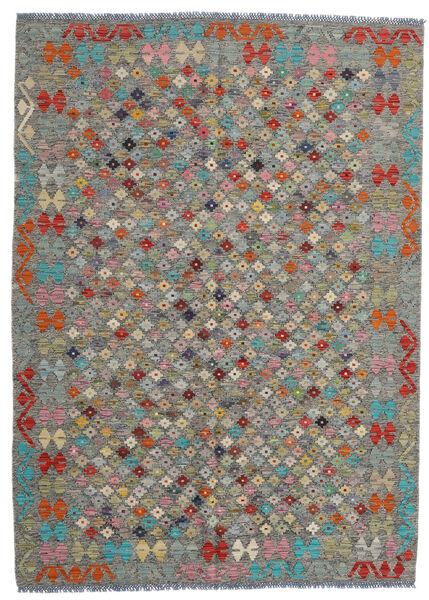 Kelim Afghan Old Style Matto 170X236 Itämainen Käsinkudottu Tummanharmaa/Vaaleanharmaa (Villa, Afganistan)