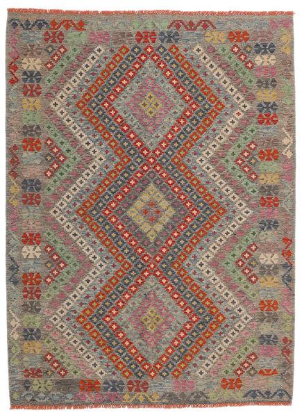 Kelim Afghan Old Style Matto 174X234 Itämainen Käsinkudottu Vaaleanharmaa/Tummanpunainen (Villa, Afganistan)