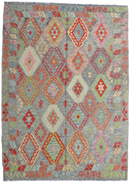 Kelim Afghan Old Style Matto 171X233 Itämainen Käsinkudottu Tummanharmaa/Vaaleanharmaa (Villa, Afganistan)