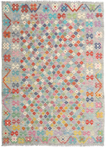 Kelim Afghan Old Style Matto 178X247 Itämainen Käsinkudottu Vaaleanharmaa/Vaaleanpunainen (Villa, Afganistan)