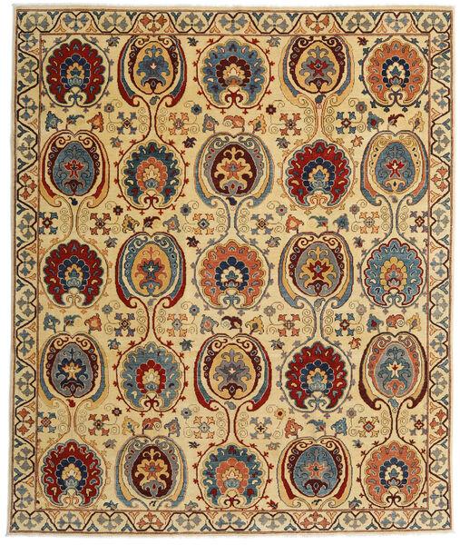 Kazak Matto 245X291 Itämainen Käsinsolmittu Tummanruskea/Keltainen (Villa, Afganistan)