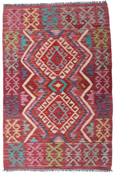 Kelim Afghan Old Style Matto 98X146 Itämainen Käsinkudottu Tummanpunainen/Tummanharmaa (Villa, Afganistan)