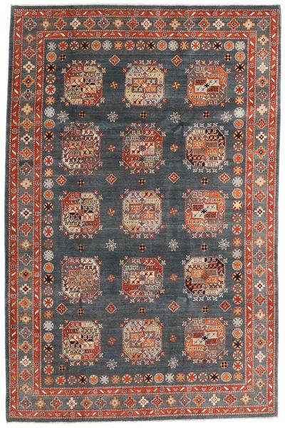 Kazak Matto 195X296 Itämainen Käsinsolmittu Tummanharmaa/Tummanpunainen (Villa, Afganistan)