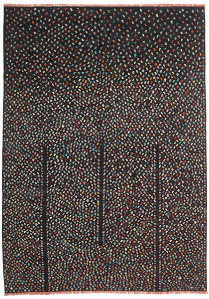 Kelim Moderni Matto 206X286 Moderni Käsinkudottu Musta (Villa, Afganistan)