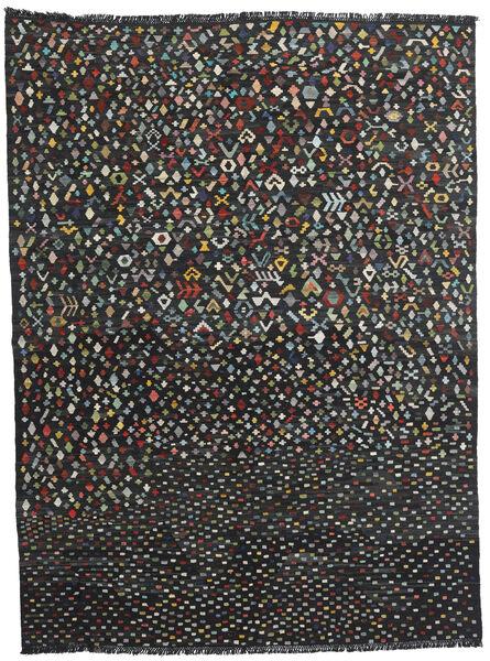 Kelim Moderni Matto 214X288 Moderni Käsinkudottu Musta (Villa, Afganistan)