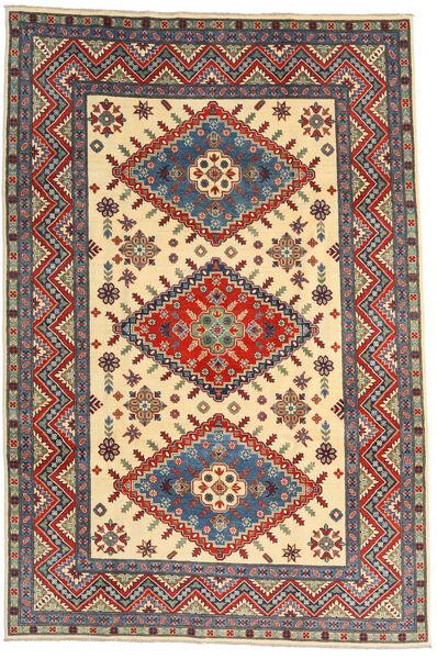 Kazak Matto 198X296 Itämainen Käsinsolmittu Tummanpunainen/Beige (Villa, Afganistan)
