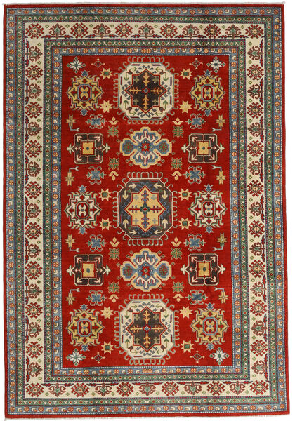 Kazak Matto 201X293 Itämainen Käsinsolmittu Tummanpunainen/Tummanharmaa (Villa, Afganistan)
