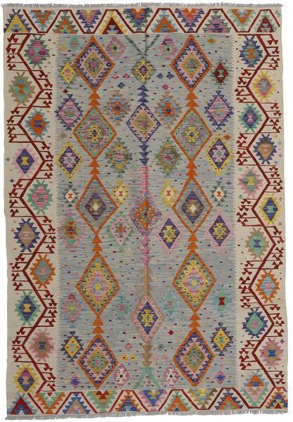 Kelim Afghan Old Style Matto 200X287 Itämainen Käsinkudottu Vaaleanharmaa/Vaaleanruskea (Villa, Afganistan)