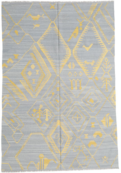 Kelim Moderni Matto 199X292 Moderni Käsinkudottu Vaaleanharmaa/Tummanbeige (Villa, Afganistan)