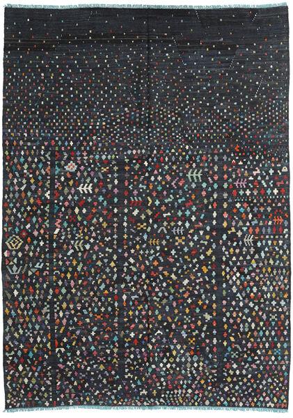 Kelim Moderni Matto 205X283 Moderni Käsinkudottu Musta/Tummansininen (Villa, Afganistan)