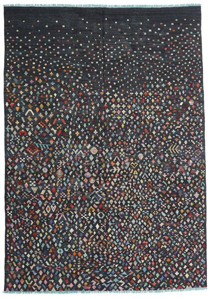 Kelim Moderni Matto 199X284 Moderni Käsinkudottu Musta/Tummanharmaa (Villa, Afganistan)